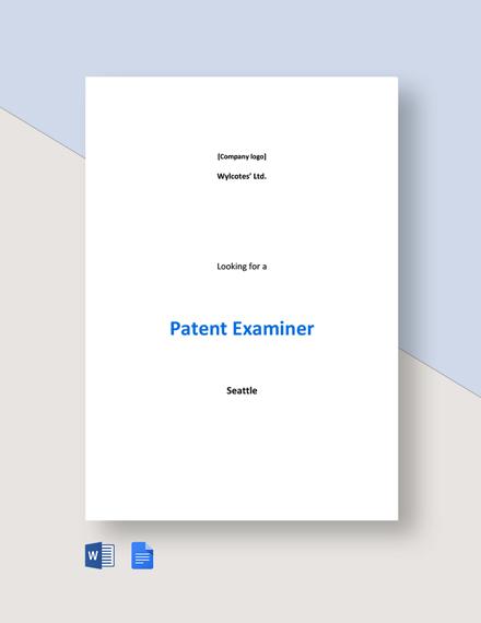 Patent Examiner Job Ad and Description Template