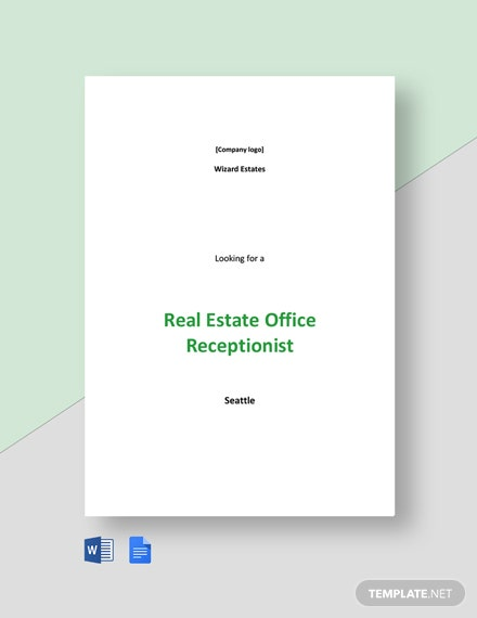 Real Estate Office Receptionist Job Ad and Description Template