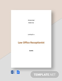 Law Office Receptionist Job Ad and Description Template