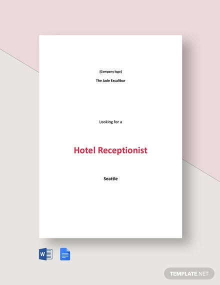 Hotel Receptionist Job Ad and Description Template