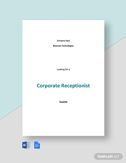 Corporate Receptionist Job Ad and Description Template