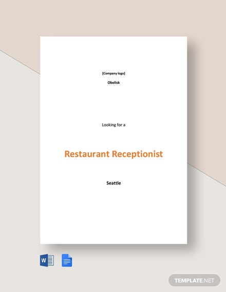 Restaurant Receptionist Job Ad and Description Template