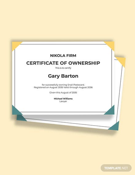 Spa Owner Certificate Template