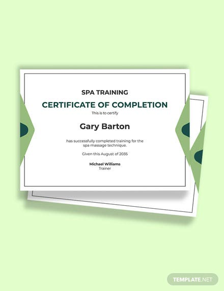 Spa Massage Certificate Template