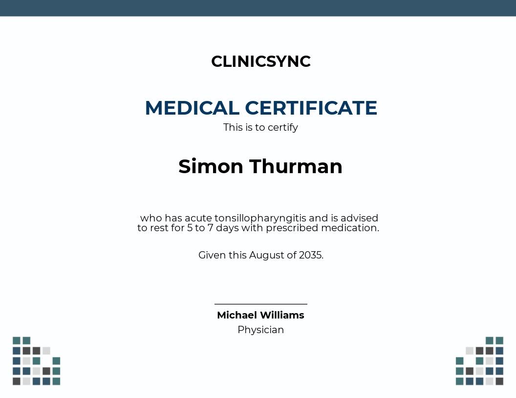 Sick Leave Certificate Template