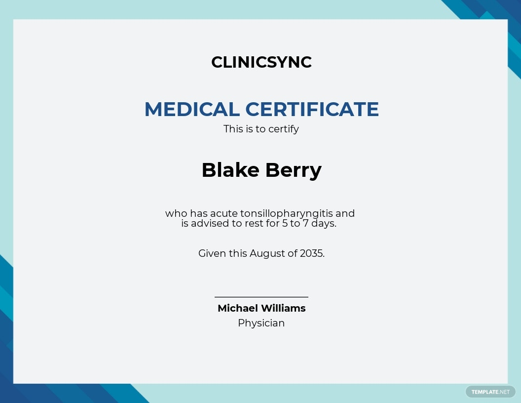 Doctor Certificate for Sick Leave Template