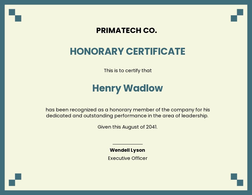 Corporate Honorary Certificate Template
