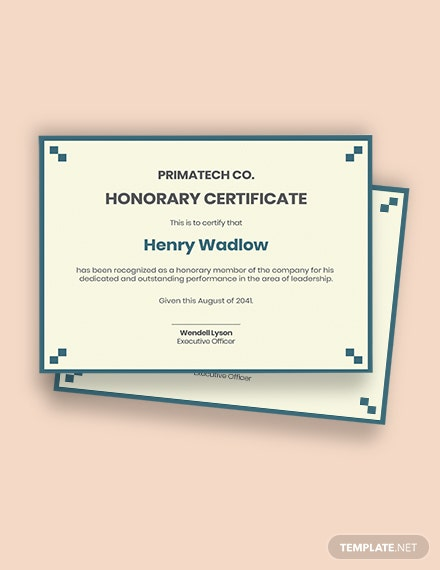 Corporate Honorary Certificate Template