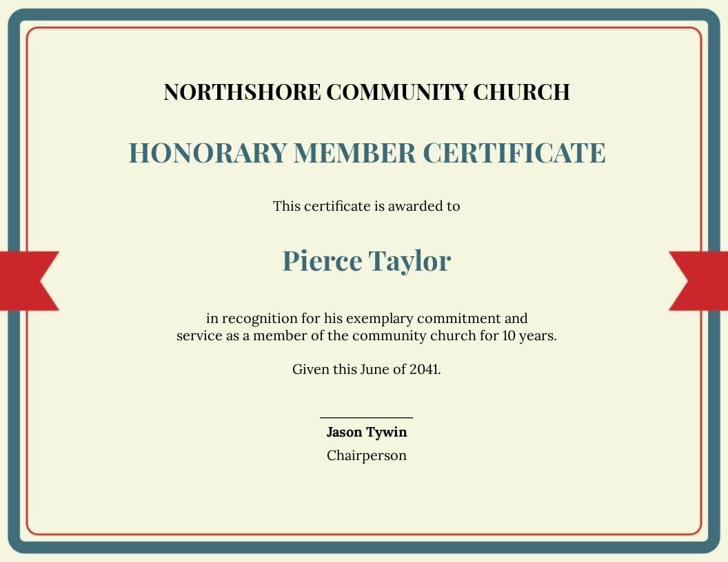 honorary church member certificate Template