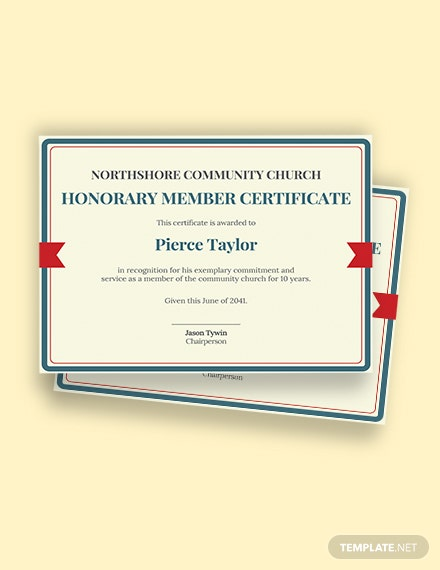 Free honorary church member certificate Template