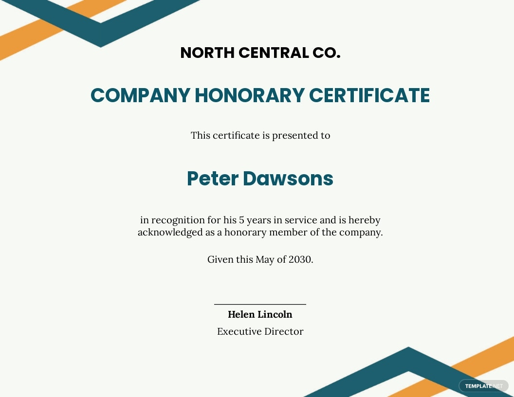 Company Honorary Certificate Template