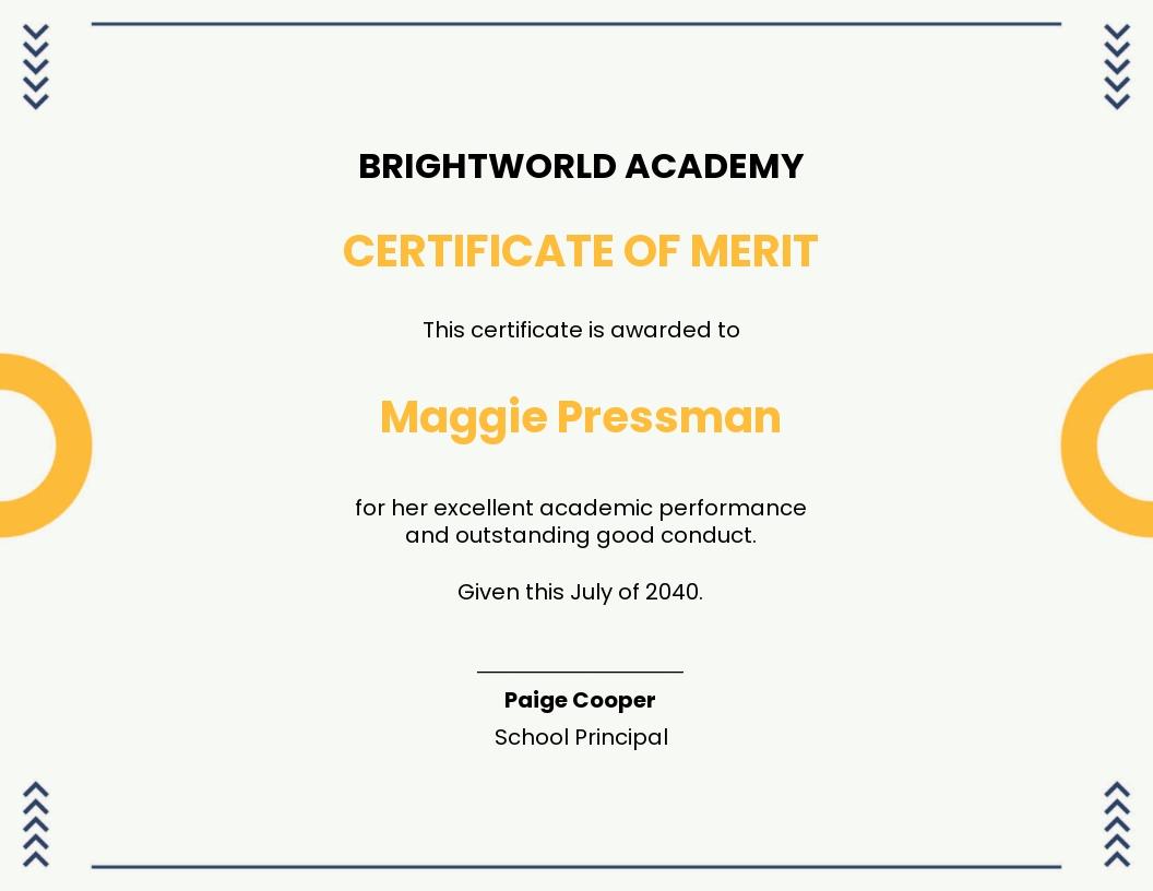 merit certificate for school students Template