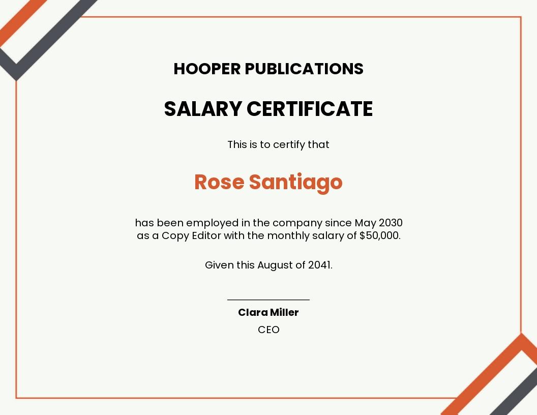 Company Salary Certificate Template