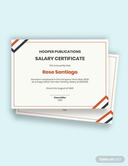 Company Salary Certificate Template