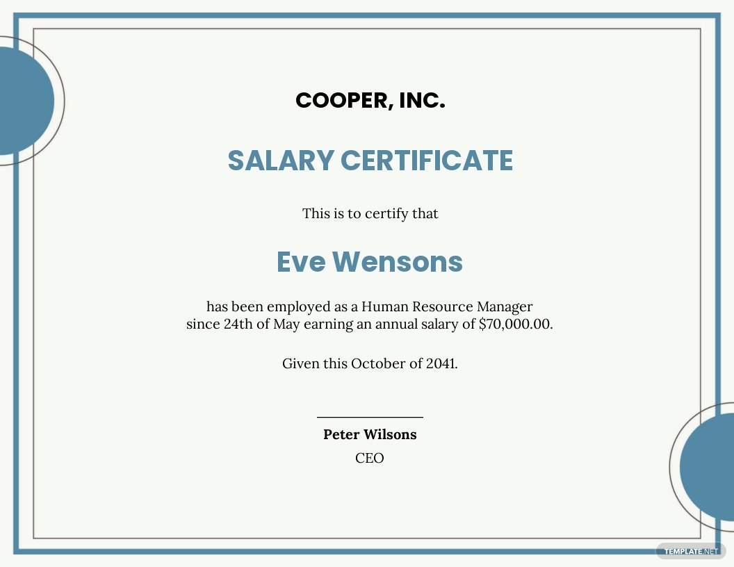 annual salary certificate Template