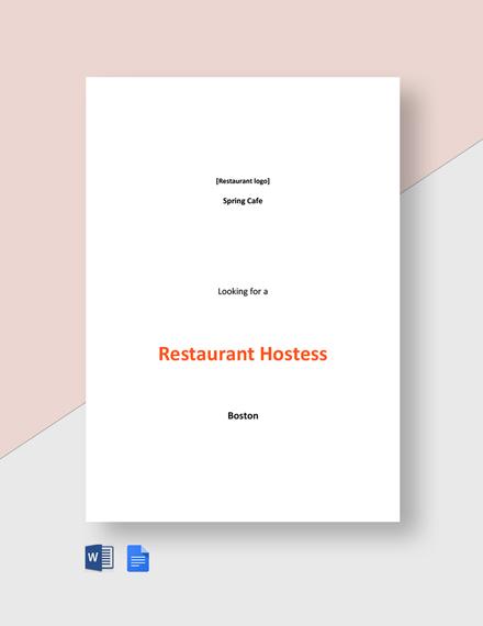 Restaurant Hostess Job Description Template