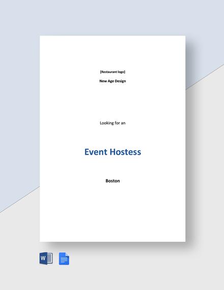 Event Hostess Job Description Template