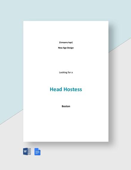 Head Hostess Job Description Template
