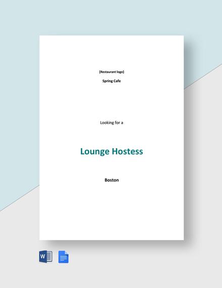 Lounge Hostess Job Description Template