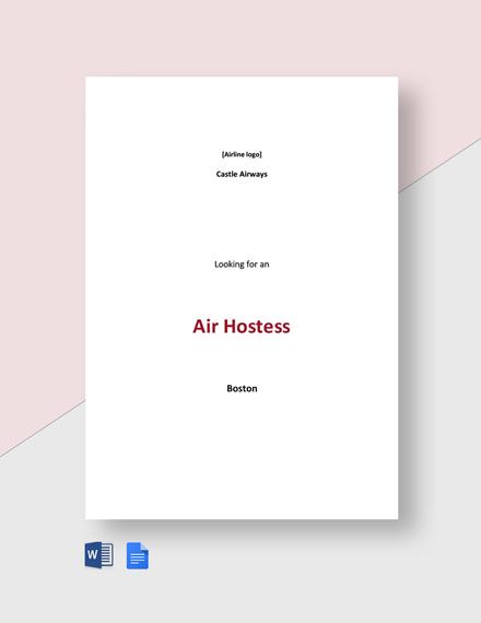 Air Hostess Job Description Template