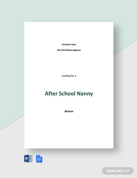 After School Nanny Job Description Template