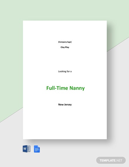 Full Time Nanny Job Description Template