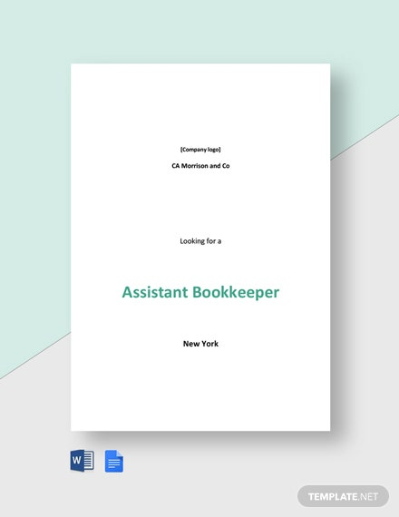 Assistant Bookkeeper Job Ad and Description Template