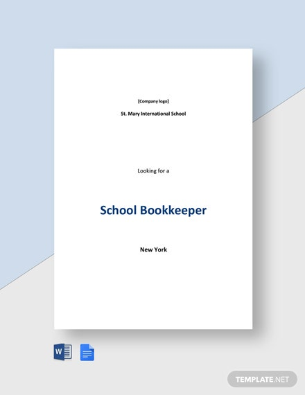 School Bookkeeper Job Ad and Description Template