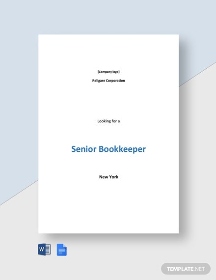 Senior Bookkeeper Job Ad and Description Template