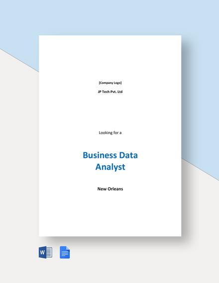 Business Data Analyst Job Description Template