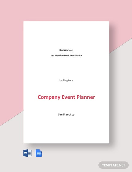 Company Event Planner Job Description Template