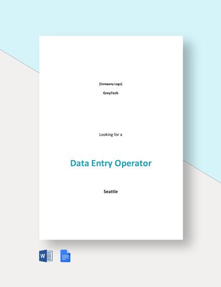 Data Entry Operator Job Description Template