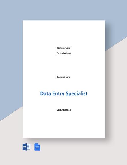 Data Entry Specialist Job Description Template