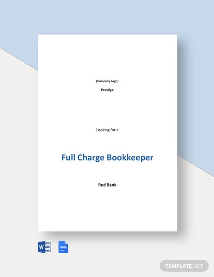 Full Charge Bookkeeper Job Ad and Description Template
