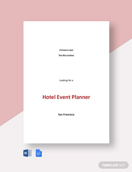 Hotel Event Planner Job Description Template