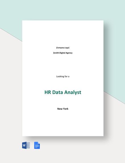 HR Data Analyst Job Description Template