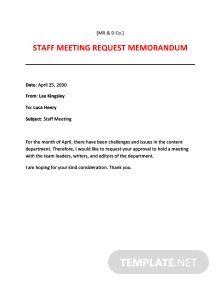 Meeting Request Memo