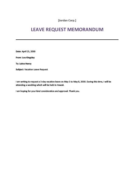 Sample Request Memo Template