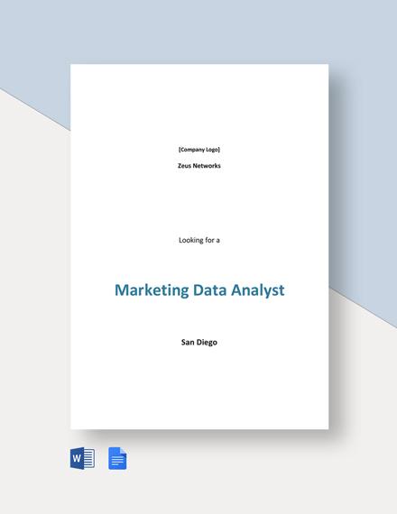 Marketing Data Analyst Job Description Template