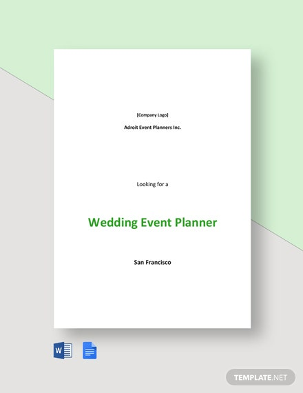 Wedding Event Planner Job Description Template