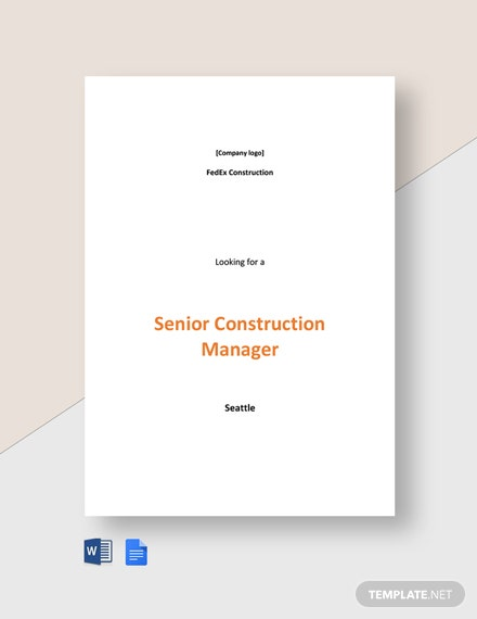 Senior Construction Manager Job Ad and Description Template