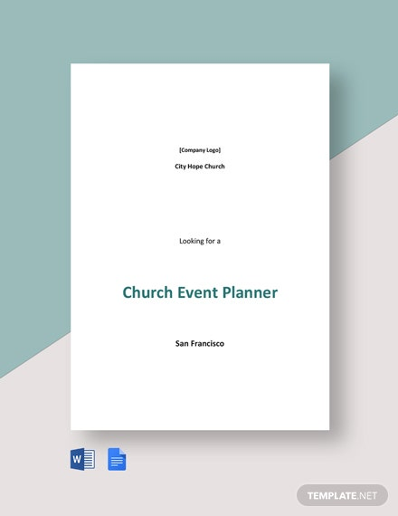 Church Event Planner Job Description Template