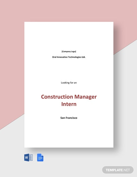 Construction Manager Intern Job Ad and Description Template