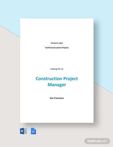 Construction Project Manager Job Ad and Description Template