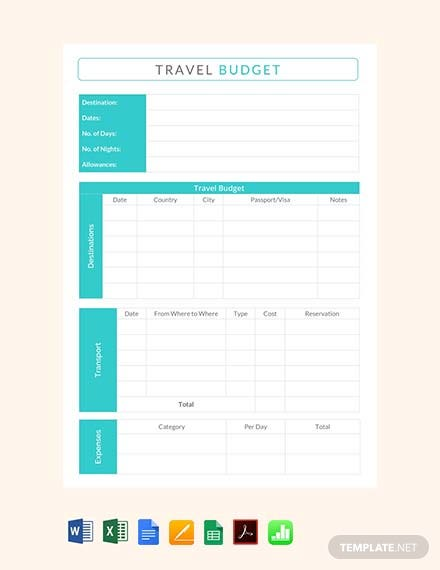 Free Travel Budget Template Download 44 Sheets In Word Pdf Apple