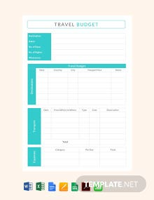 Free Travel Budget Template