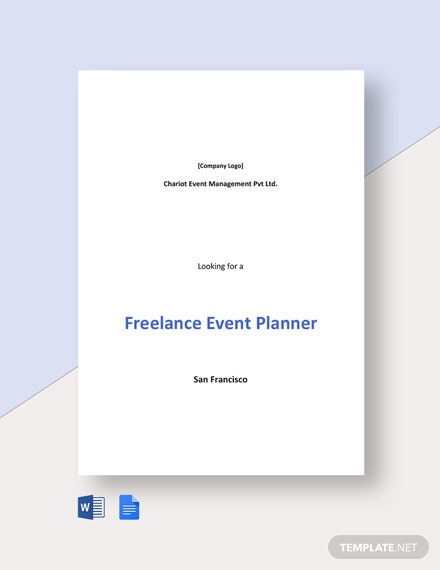 Freelance Event Planner Job Description Template