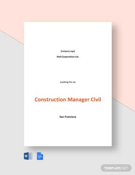 Residential Construction Manager Job Ad and Description Template