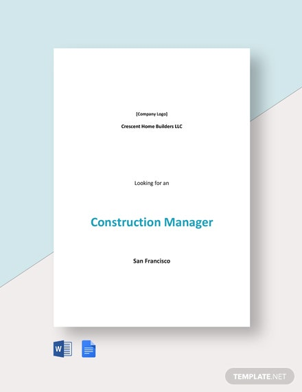 Sample Construction Manager Job Ad and Description Template