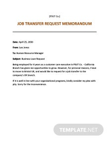 Transfer Request Memo